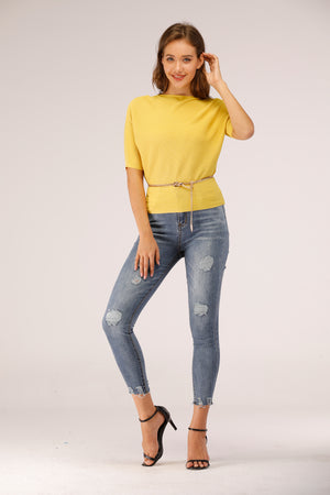 Mantra Pakistan Full Sleeve Ribbed Top Yellow | Western Wear