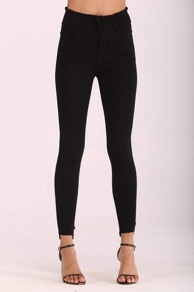 DUAL BUTTONS WAISTBAND JEGGINGS