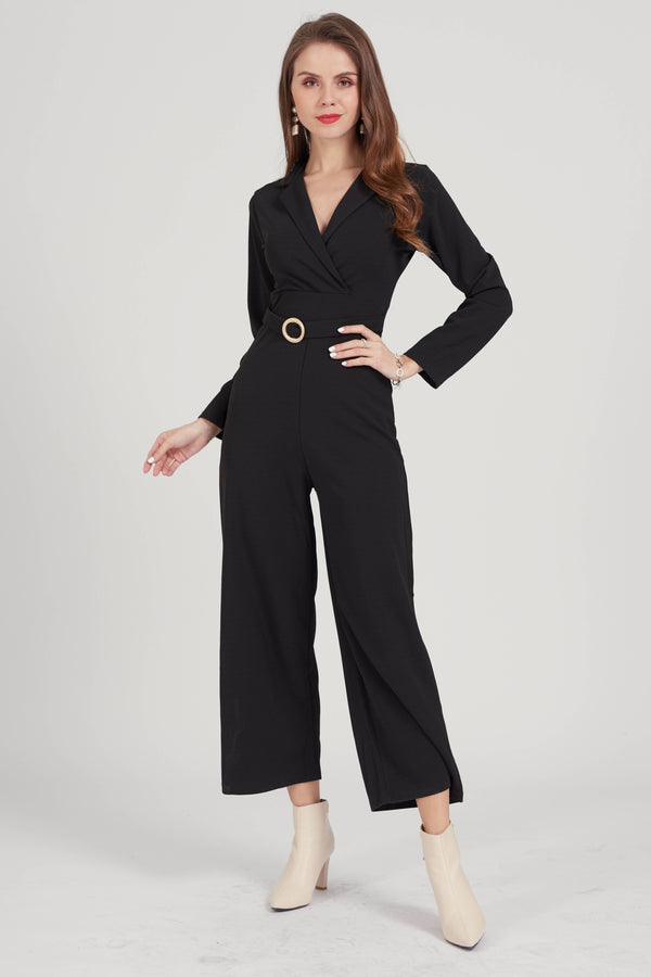 Mantra Pakistan Black jumpsuit with belt | DRESS