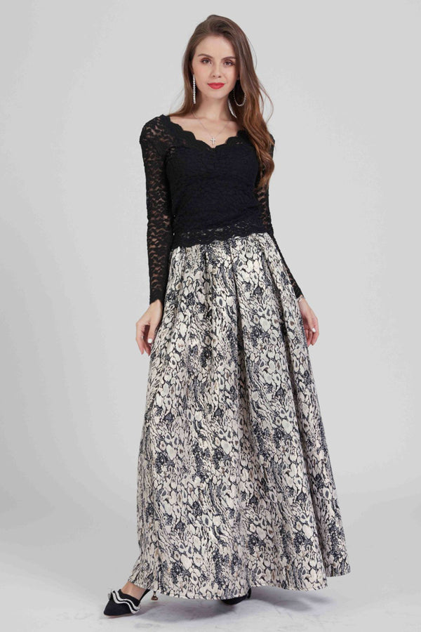 Mantra Pakistan Long Skirt Jacquard pattern | BOTTOMS