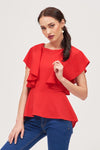 DRAPED SLEEVES TOP