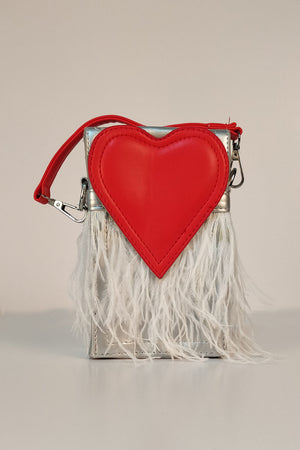 Mantra Pakistan HEART LID CLUTCH WITH FRINGES | ACCESSORIES