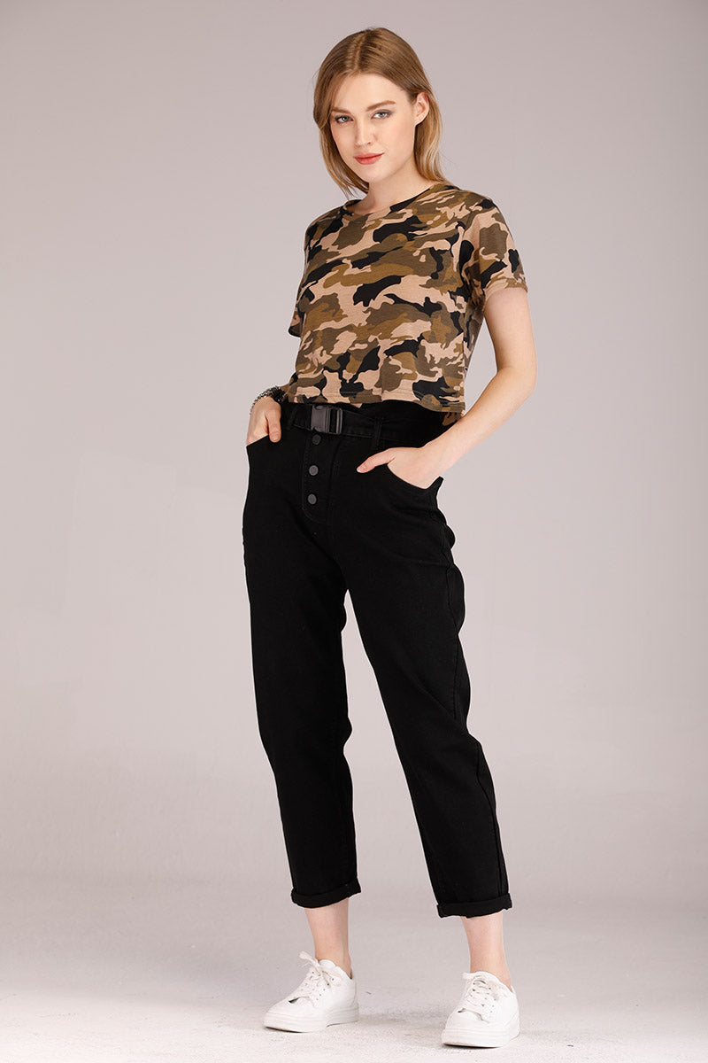 CAMOUFLAGE PRINTED CROPPED TEE - Mantra Pakistan