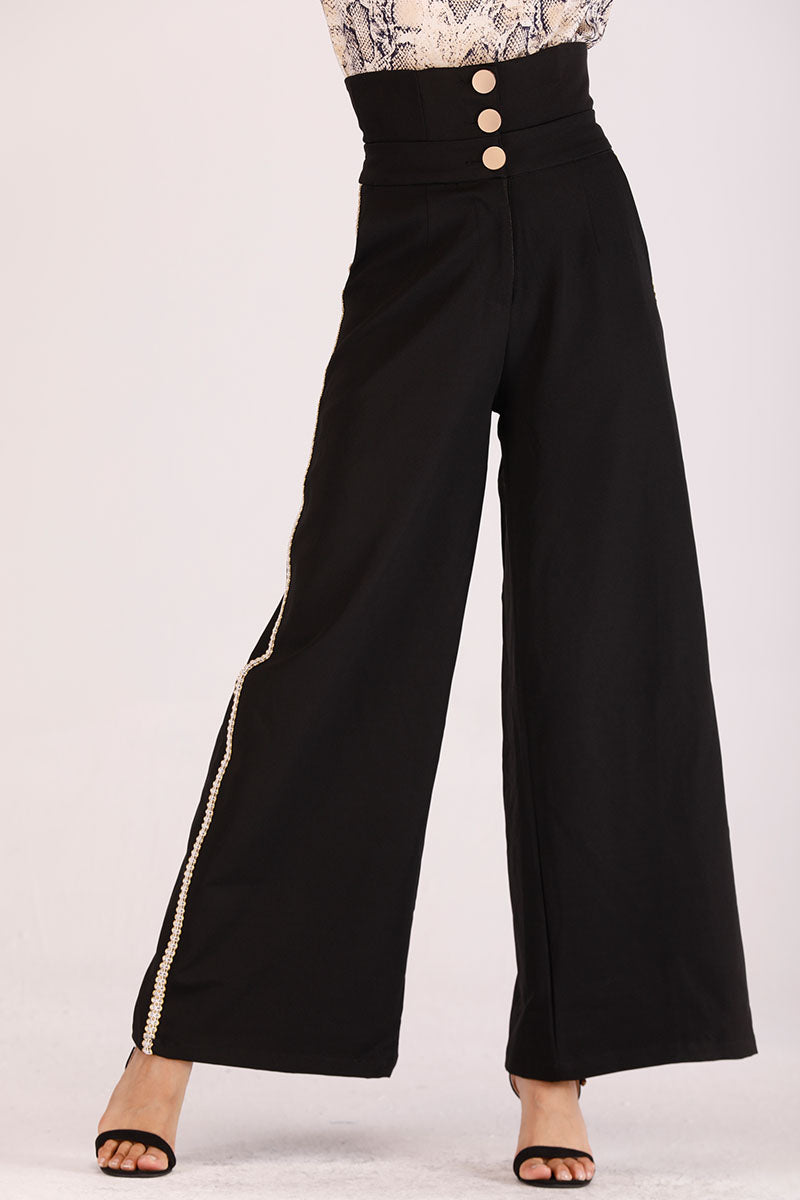 HIGH WAIST SIDE RIK RAK STRIPE PANTS