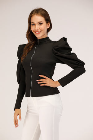 Mantra Pakistan Puffy sleeve Top with Zip | Western Wear