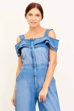 Mantra Pakistan COLD SHOULDER DENIM OVERALL | DRESS
