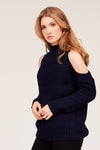 COLD SHOULDER COTTON SWEATER