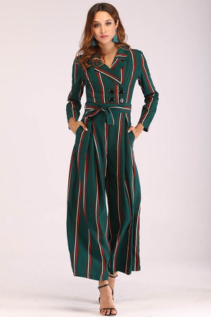 LAPEL COLLAR STRIPED JUMPSUIT - Mantra Pakistan