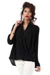 CROSS PANELED SOLID BLOUSE