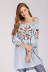 DENIM OFF SHOULDER EMBROIDERED TOP