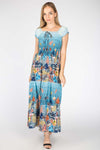 TURQUOISE FLORAL PRINTED LONG DRESS