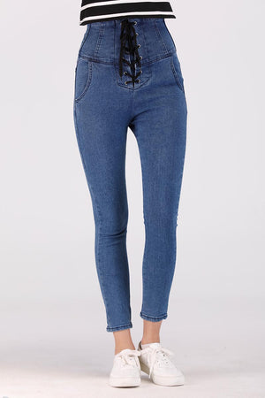Mantra Pakistan HIGH WAIST JEANS WITH TIE UP LACE FRONT | BOTTOMS