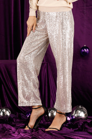 Mantra Pakistan Beige Sequins Pants |