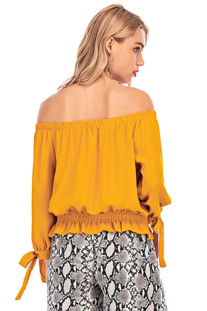 Mantra Pakistan Yellow top with self tie cuffs | Western Wear