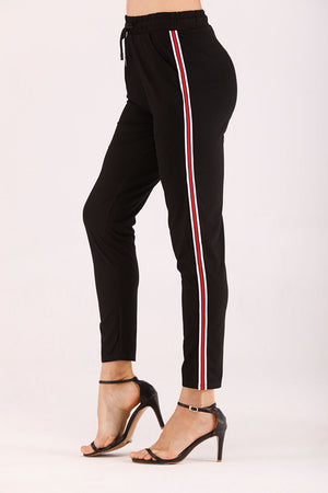Mantra Pakistan RED AND WHITE STRIPED TRACK PANTS | BOTTOMS