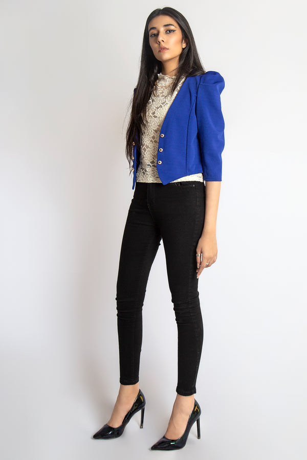 Mantra Pakistan Blue Blazer with Puffy Shoulders | Western Wear