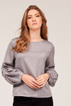 SOLID TOP WITH PUFFED SLEEVES