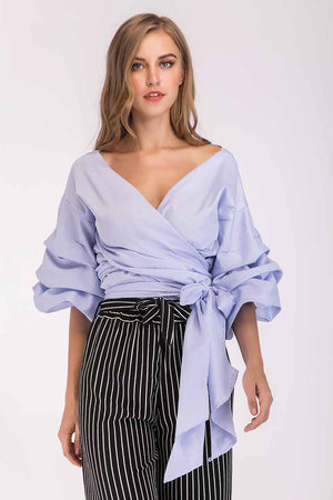 Mantra Pakistan STRIPED CROP TOP WITH PUFFY SLEEVES | TOPS