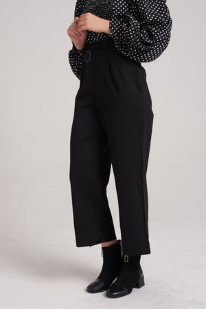 Mantra Pakistan Belted High Rise Pants | BOTTOMS