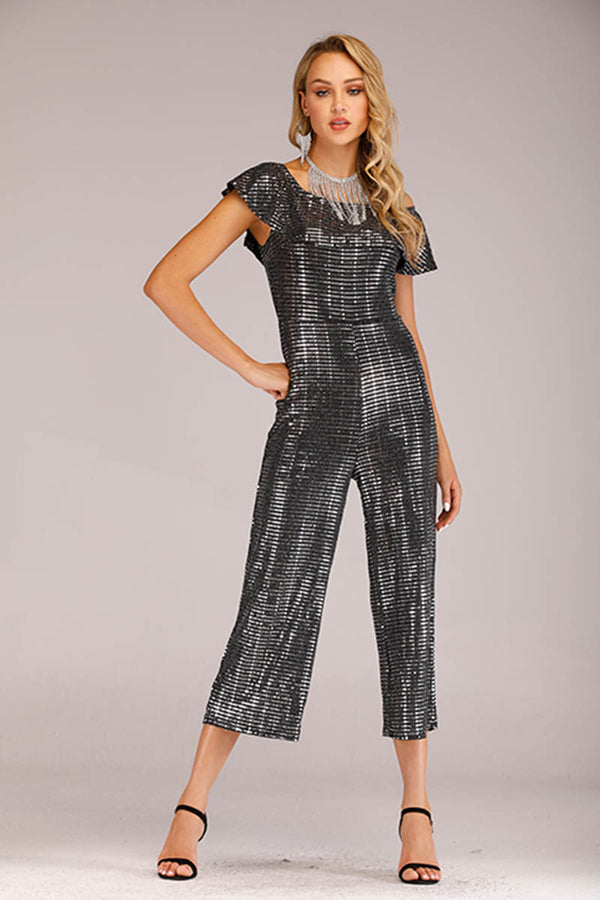 GREY SEQUINS OFF SHOULDER JUMPSUIT - Mantra Pakistan