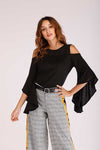 COLD SHOULDER TOP WITH FLARED SLEEVES
