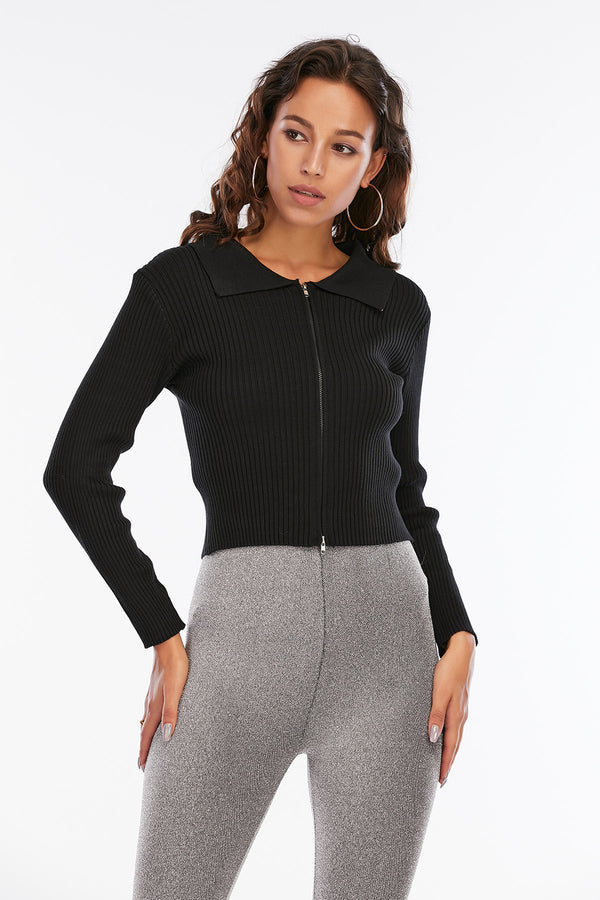 Mantra Pakistan Black Ribbed Sweater with zip | Western Wear