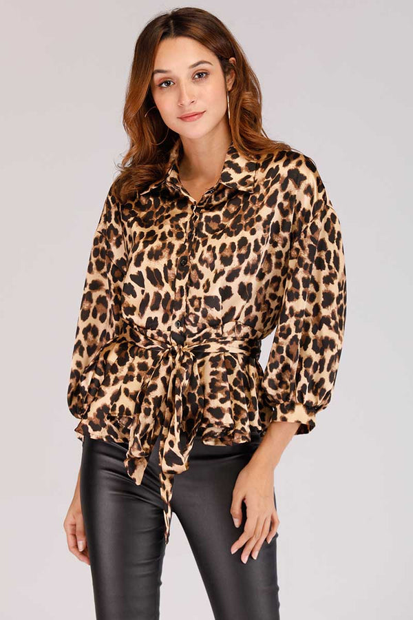 ANIMAL PRINT BUTTON DOWN TOP - Mantra Pakistan