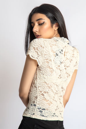 Mantra Pakistan Lace Top With Short Sleeves | Western Wear
