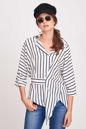 Mantra Pakistan ASYMMETRICAL STRIPED BLOUSE | TOPS