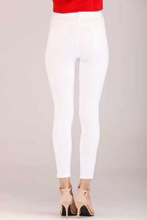 Mantra Pakistan WHITE RIPPED JEANS | BOTTOMS