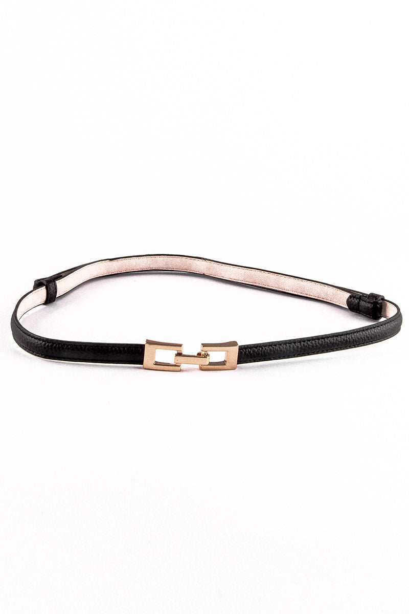 GOLDEN BUCKLE BLACK SKINNY BELT