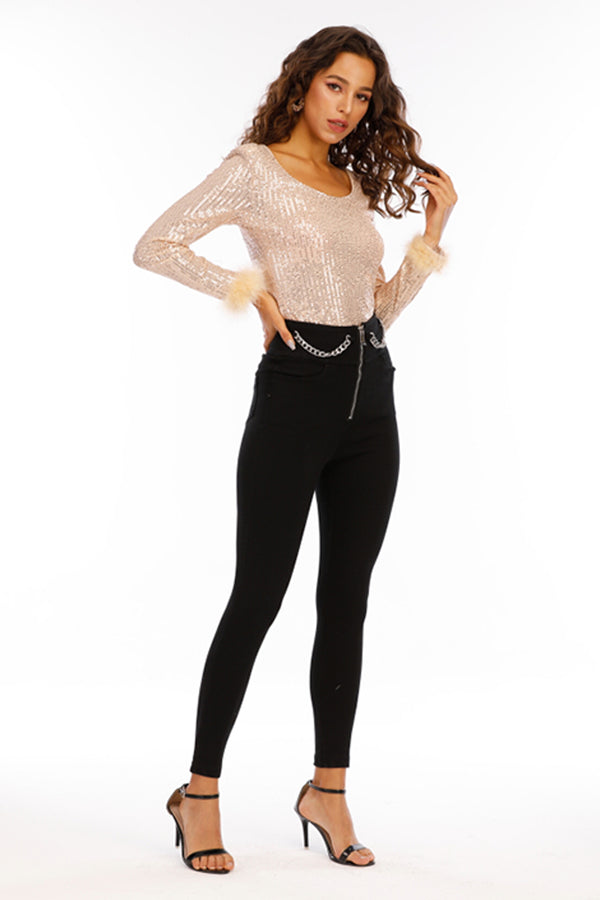 Mantra Pakistan Black Jeans with Chain | Western Wear