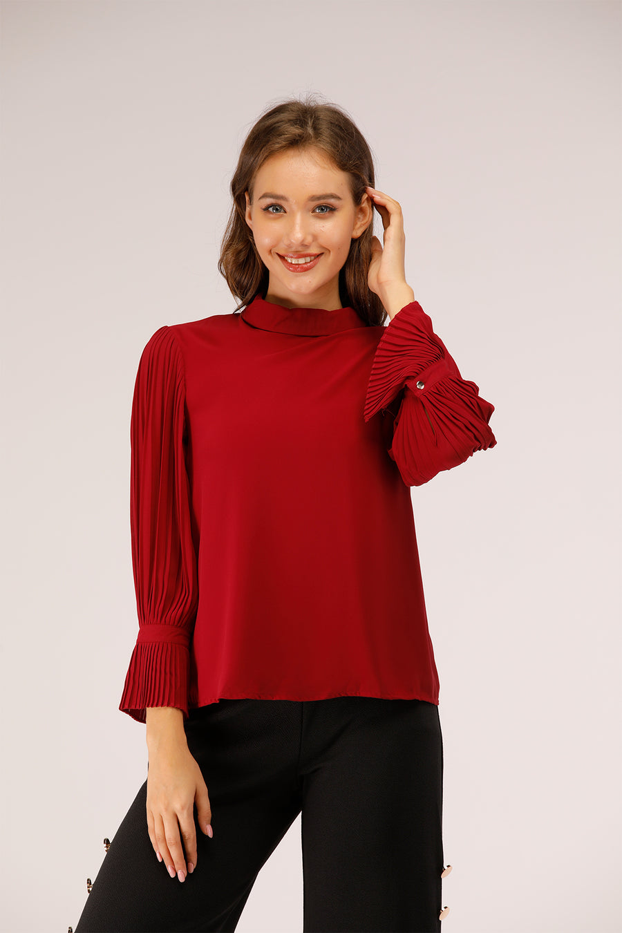 Red Pleated sleeves Top