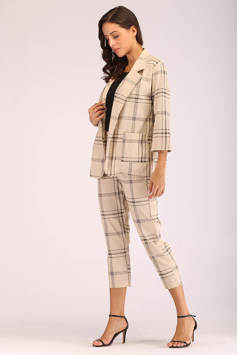 Mantra Pakistan BEIGE PLAID SUIT | DRESS