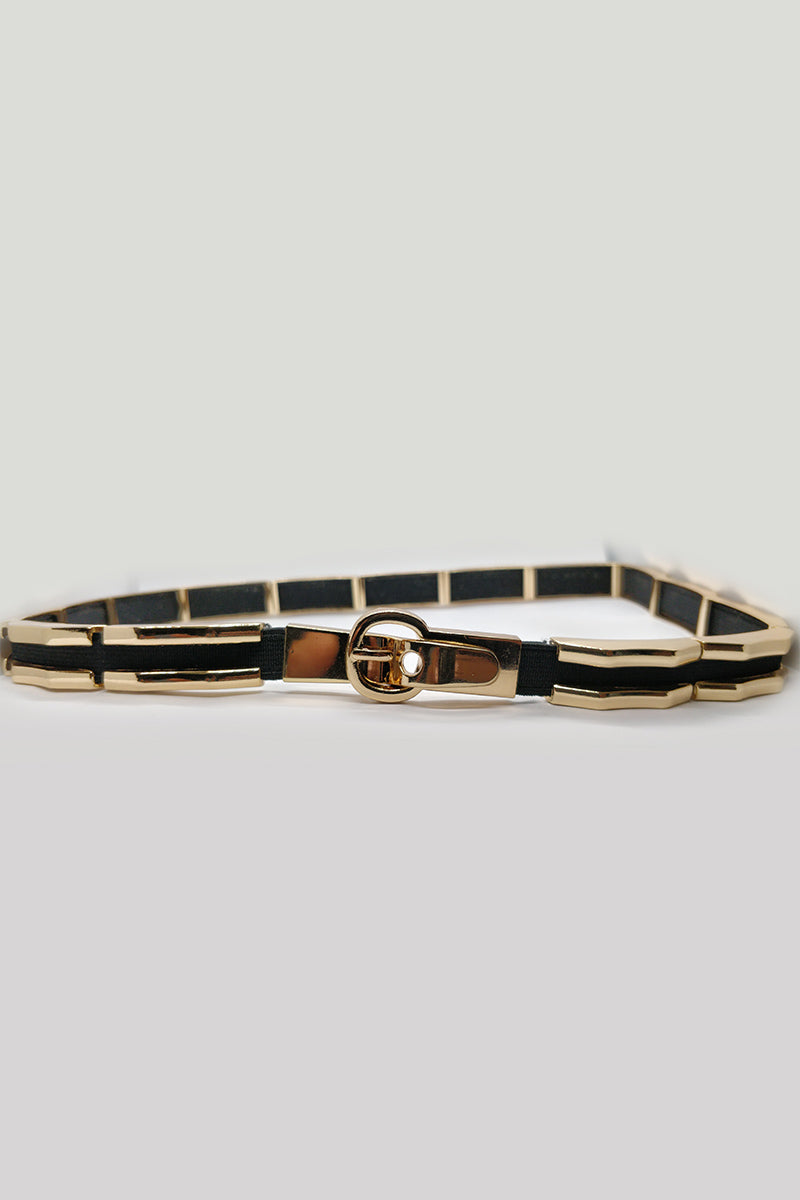 Mantra Pakistan Golden Striped Belt | ACCESSORIES