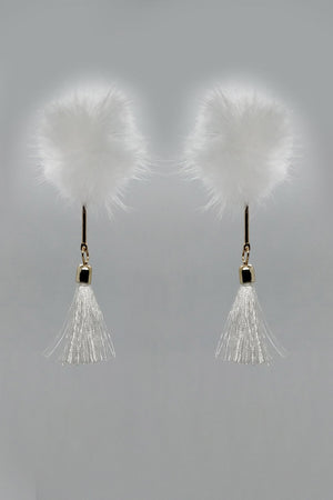 WHITE FURBALL EARRINGS