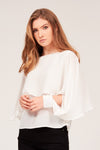 SOLID OVERLAY CHIFFON BLOUSE