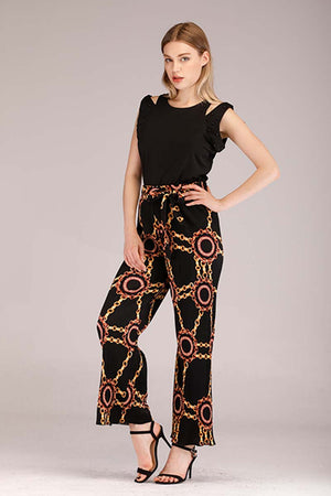 CHAIN PRINTED PLEATED PANTS