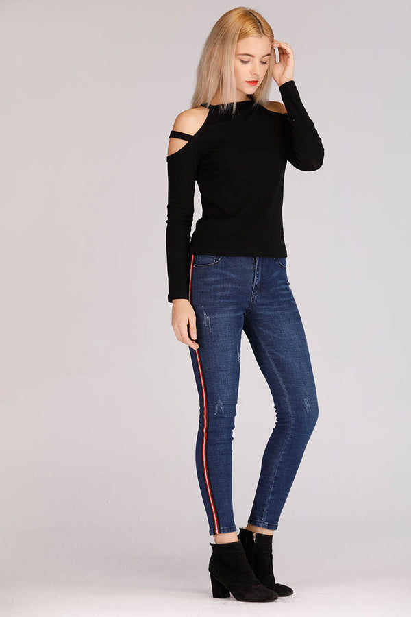 JEANS WITH RED SIDE STRIPE - Mantra Pakistan