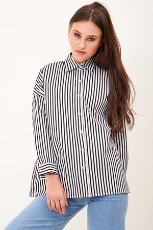 Mantra Pakistan STRIPED SHIRT (BLACK & WHITE) | TOPS