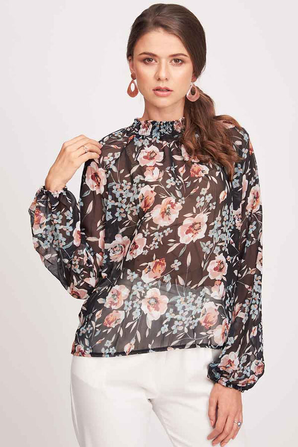Mantra Pakistan FLORAL PRINTED SHEER BLOUSE | TOPS