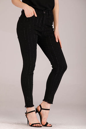 SOLID COLORED STONES STRIPES JEANS