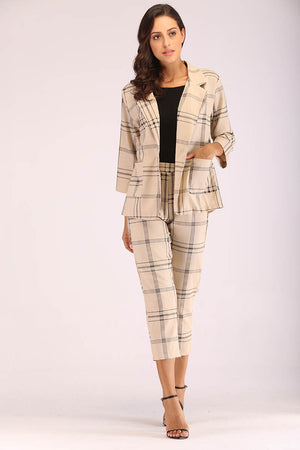 BEIGE PLAID SUIT - Mantra Pakistan