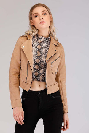 Mantra Pakistan SOLID COLORED SUEDE BIKER JACKET | OUTERWEAR