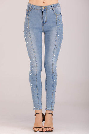 Mantra Pakistan JEANS WITH PEARLS | BOTTOMS