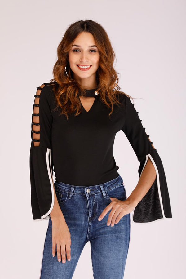 Mantra Pakistan CHOKER NECK TOP WITH LATTICE CUT SLEEVES | TOPS