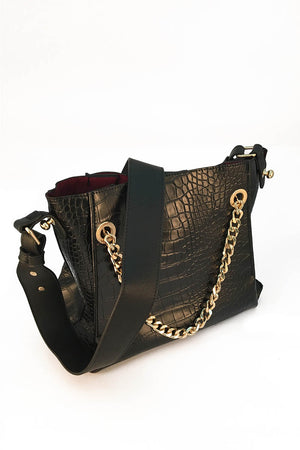 Mantra Pakistan CROC EFFECT BAG WITH CONTRASTING INNER | ACCESSORIES
