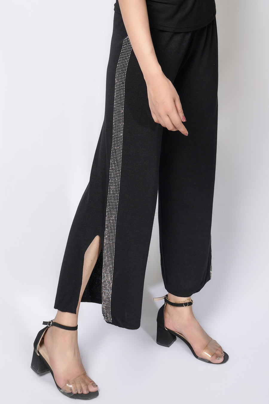 Pant with diamonte stripe and slit