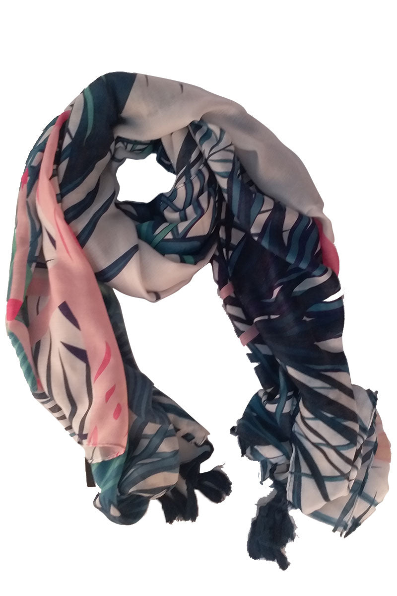 Cotton Printed Scarf with Tassels - Mantra Pakistan