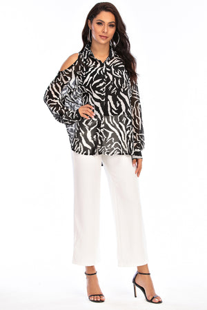 Mantra Pakistan Black & White Printed Cold Shoulder  Top | Western Wear